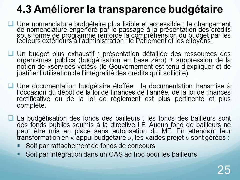 4.3 Améliorer la transparence budgétaire