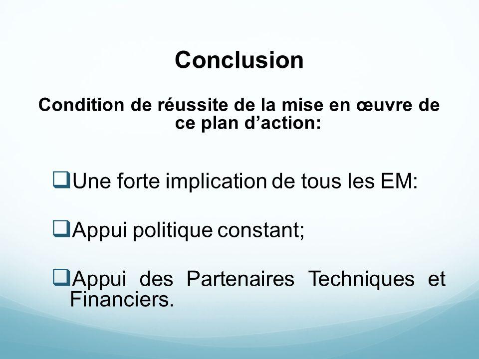 Condition de réussite de la mise en œuvre de ce plan d'action: