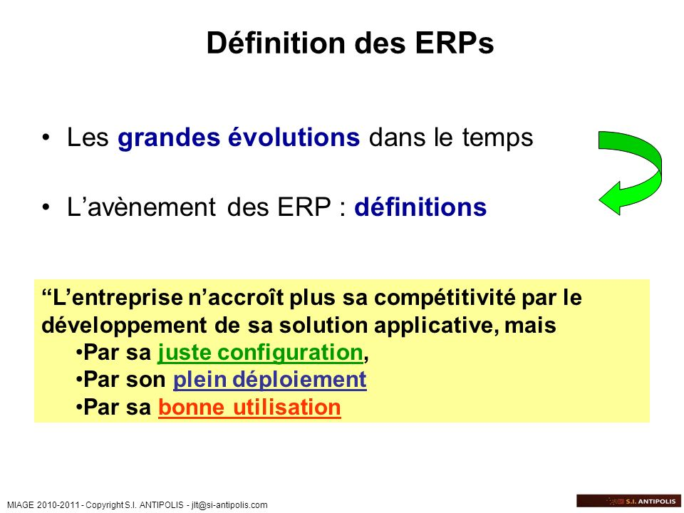 Définition des ERPs Les grandes évolutions dans le temps