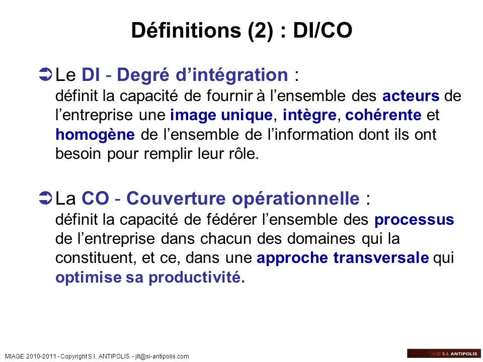 Définitions (2) : DI/CO
