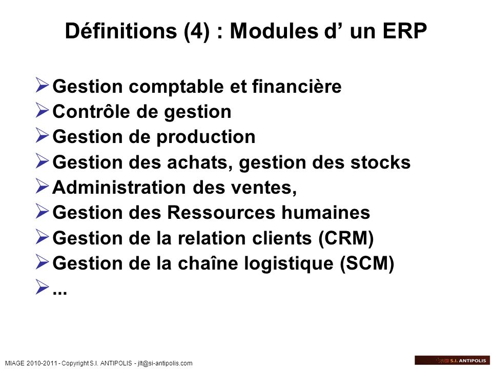 Définitions (4) : Modules d' un ERP