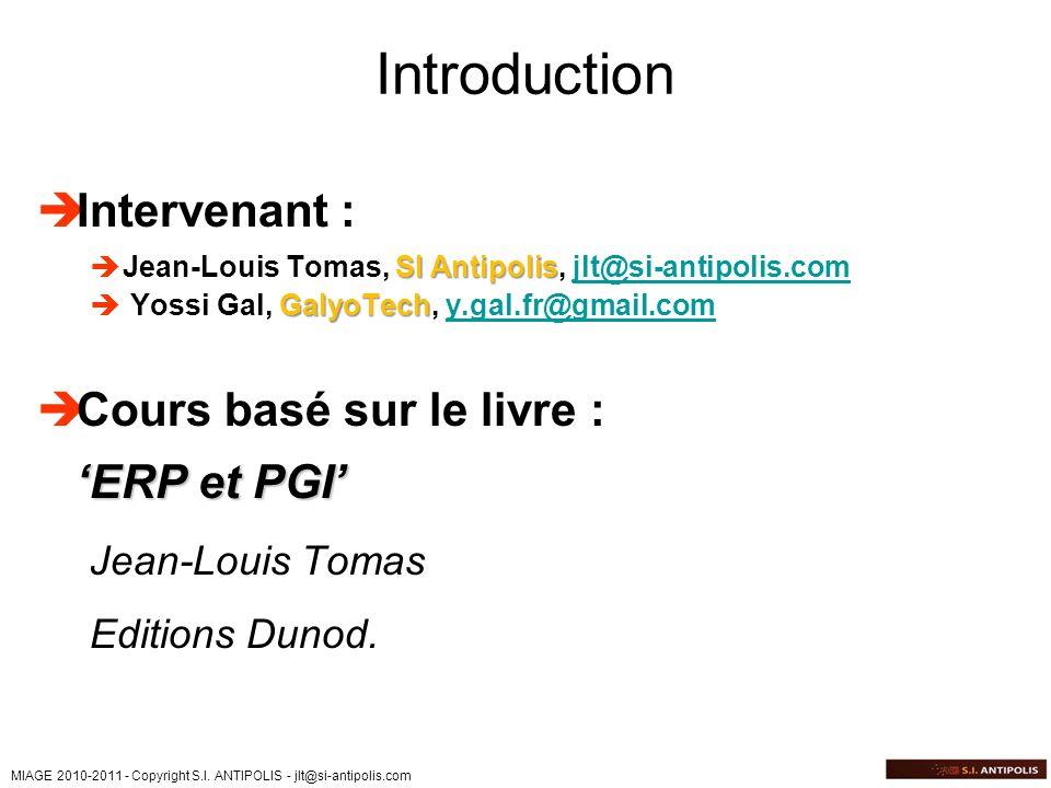 Introduction Intervenant : Cours basé sur le livre : 'ERP et PGI'