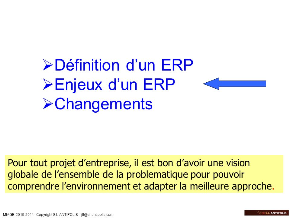 Définition d'un ERP Enjeux d'un ERP Changements