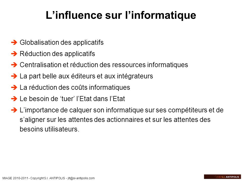 L'influence sur l'informatique