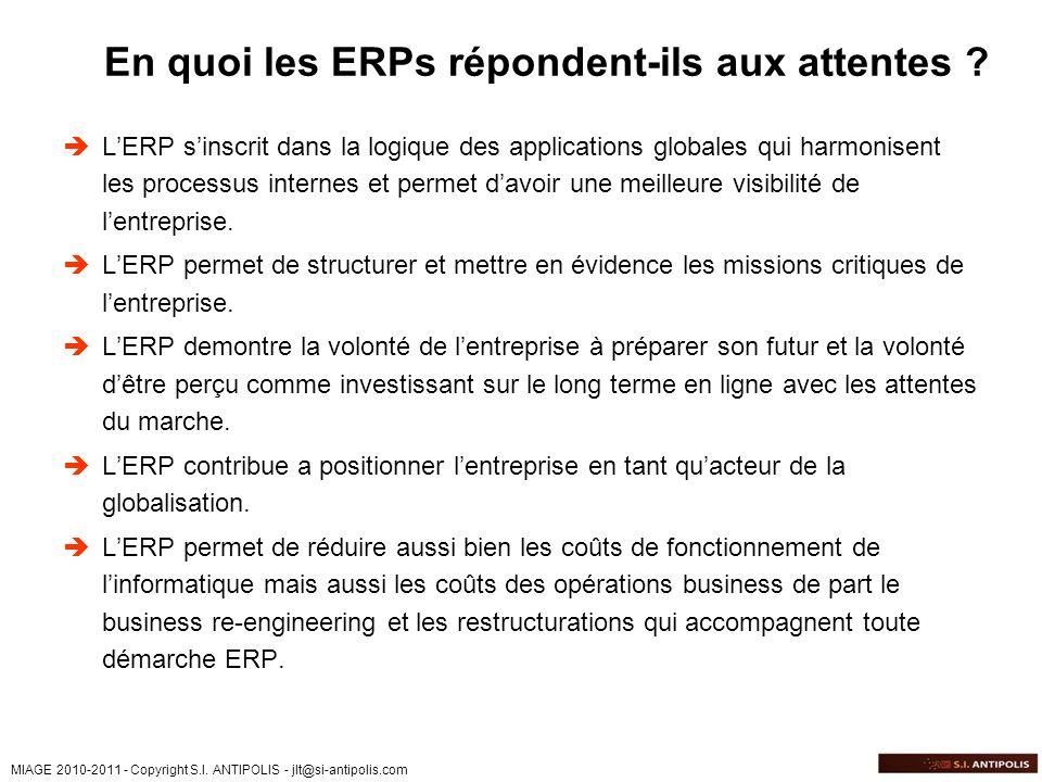 En quoi les ERPs répondent-ils aux attentes