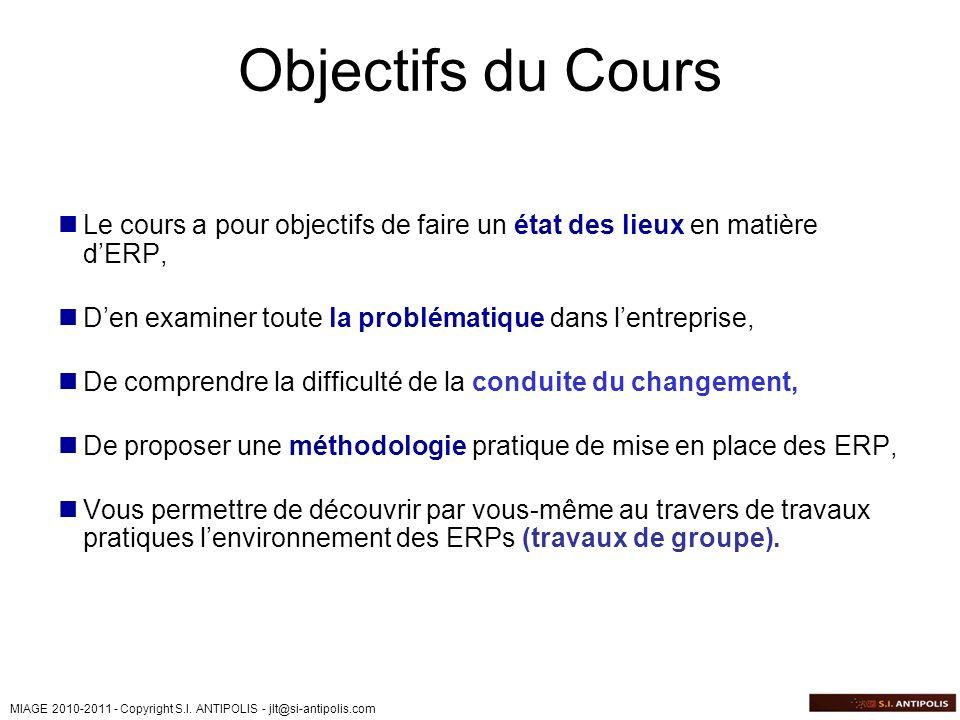 Objectifs du Cours Le cours a pour objectifs de faire un état des lieux en matière d'ERP, D'en examiner toute la problématique dans l'entreprise,