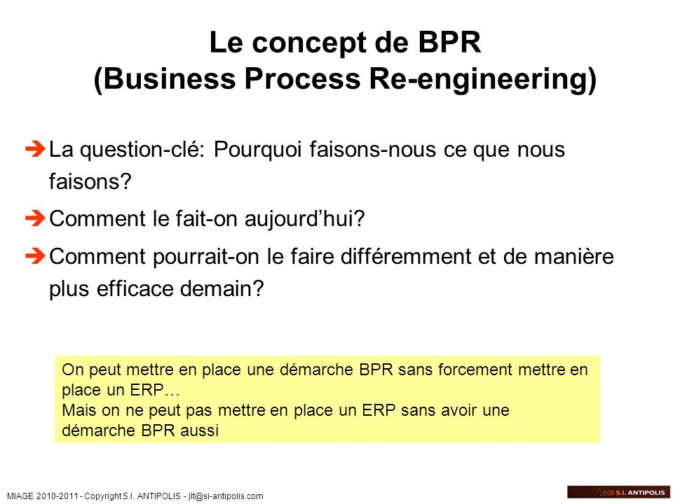 Le concept de BPR (Business Process Re-engineering)