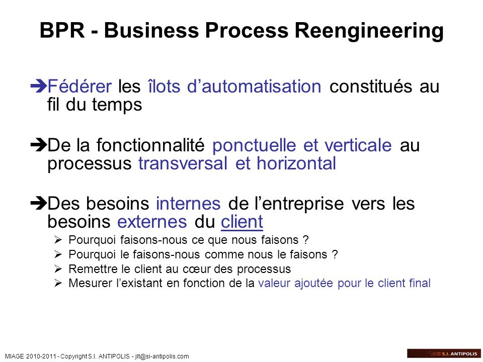 BPR - Business Process Reengineering