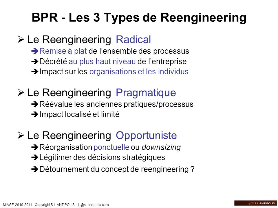 BPR - Les 3 Types de Reengineering