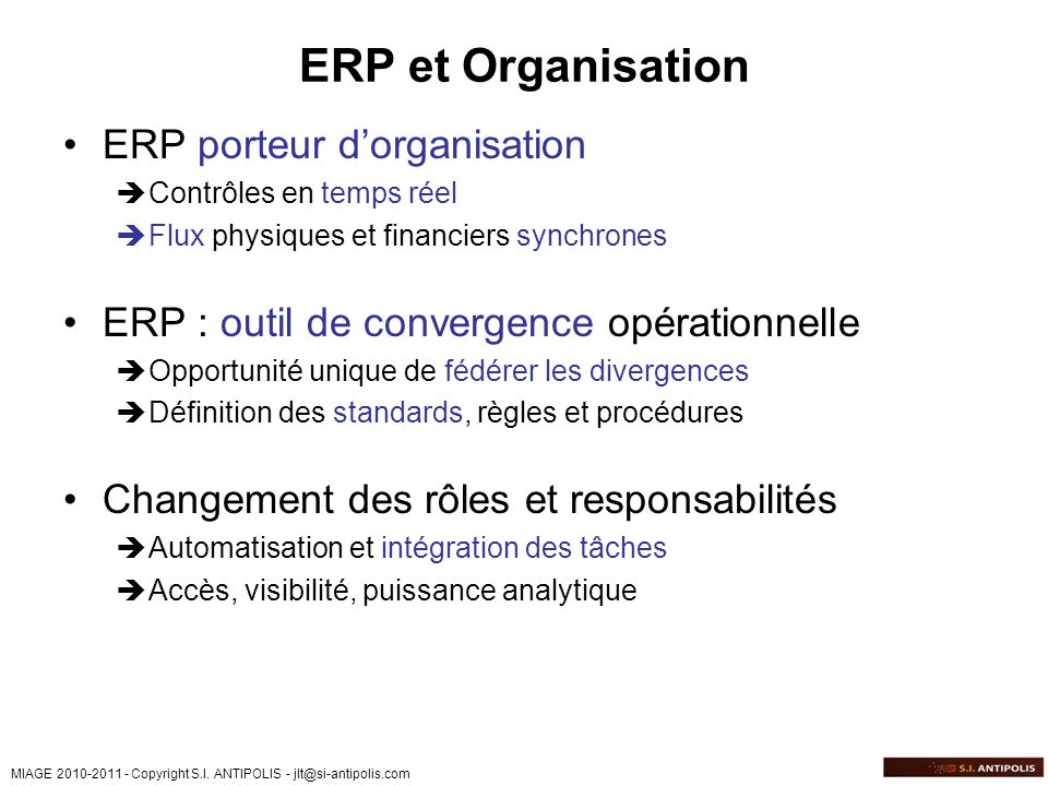 ERP et Organisation ERP porteur d'organisation