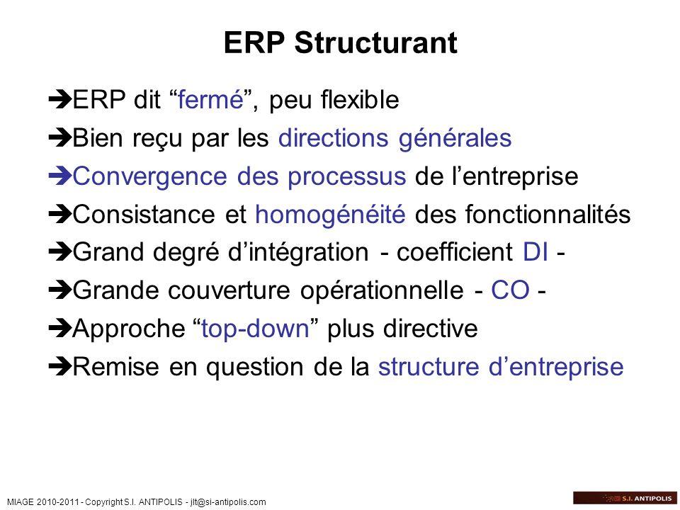 ERP Structurant ERP dit fermé , peu flexible