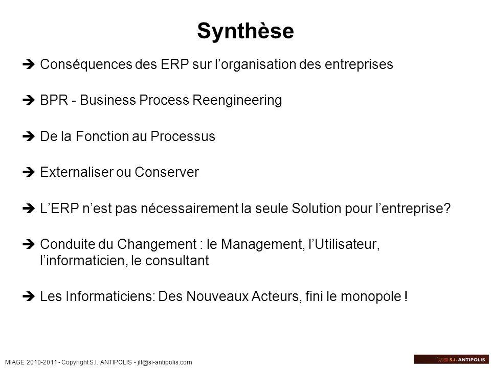 Synthèse Conséquences des ERP sur l'organisation des entreprises