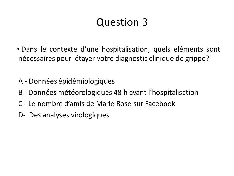 Question 3 Dans le contexte d'une hospitalisation, quels éléments sont nécessaires pour étayer votre diagnostic clinique de grippe