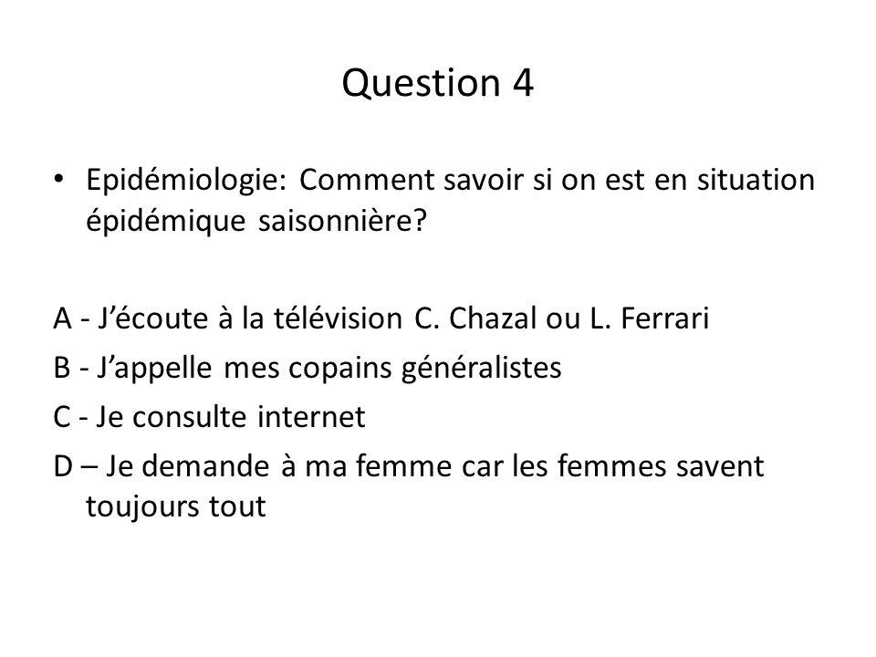 Question 4 Epidémiologie: Comment savoir si on est en situation épidémique saisonnière A - J'écoute à la télévision C. Chazal ou L. Ferrari.