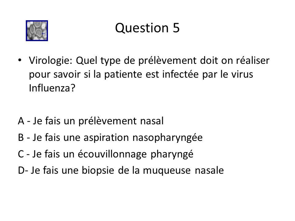 Question 5 Virologie: Quel type de prélèvement doit on réaliser pour savoir si la patiente est infectée par le virus Influenza