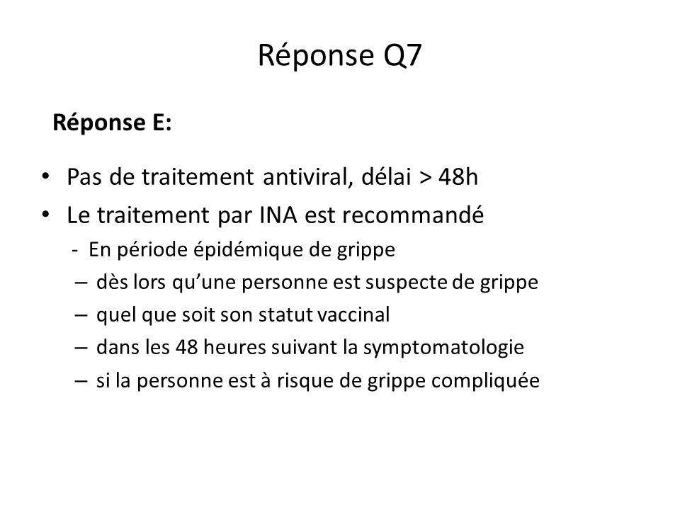 Réponse Q7 Réponse E: Pas de traitement antiviral, délai > 48h