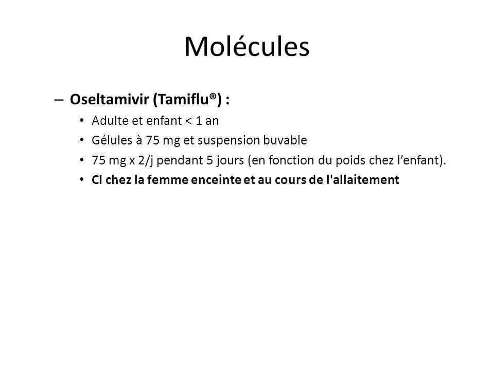 Molécules Oseltamivir (Tamiflu®) : Adulte et enfant < 1 an