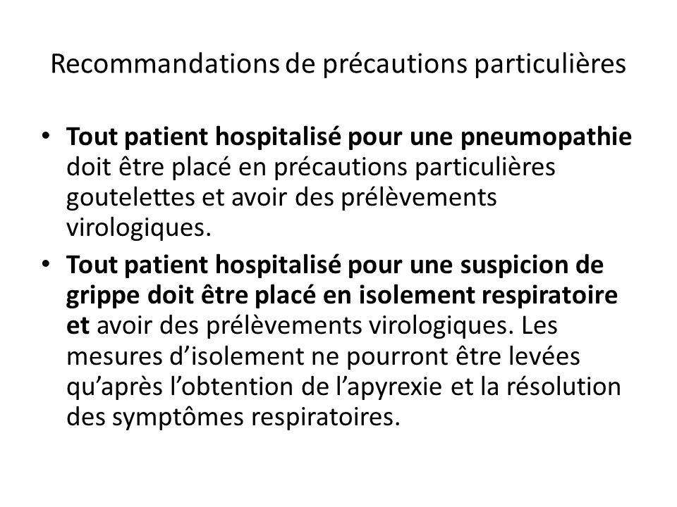 Recommandations de précautions particulières