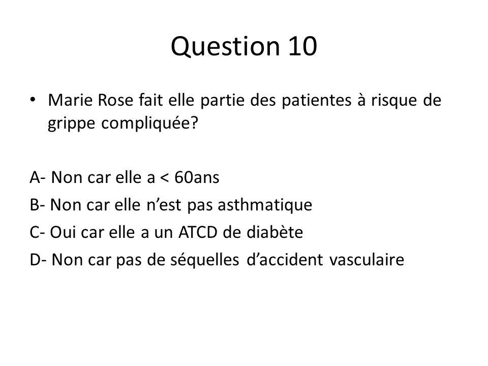 Question 10 Marie Rose fait elle partie des patientes à risque de grippe compliquée A- Non car elle a < 60ans.