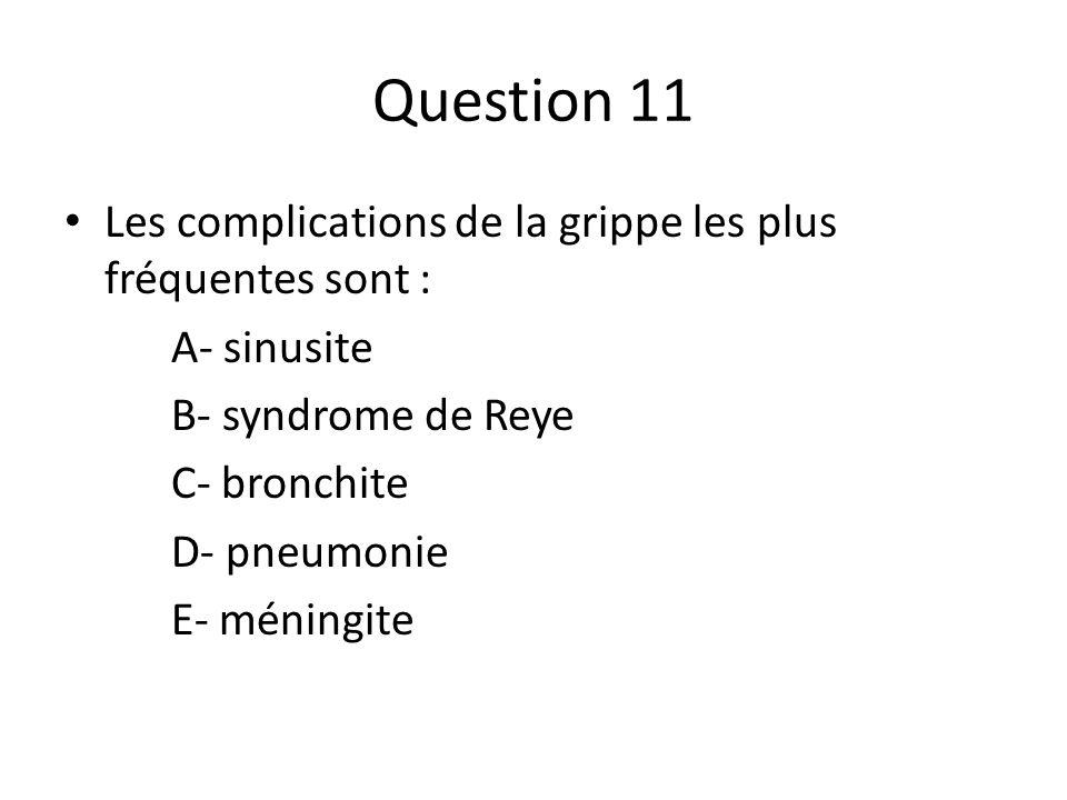 Question 11 Les complications de la grippe les plus fréquentes sont :