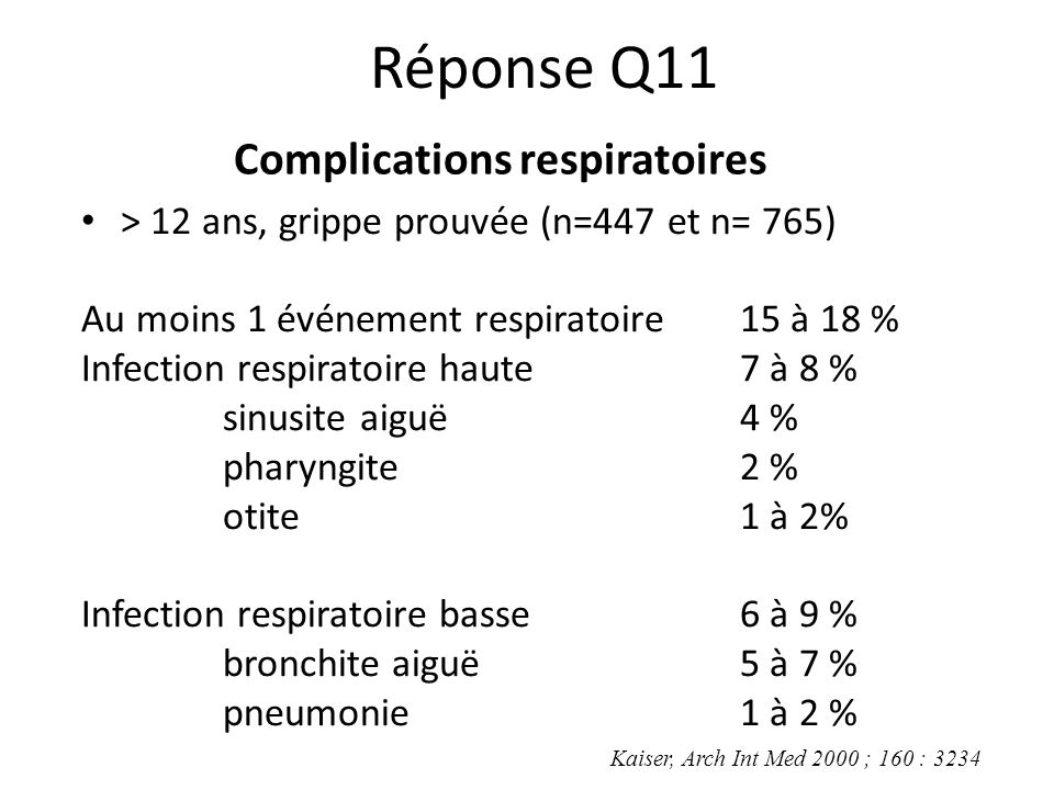 Complications respiratoires