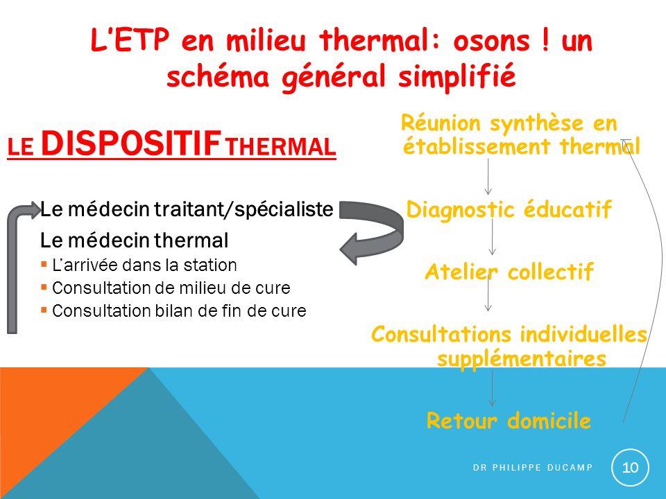 L'ETP en milieu thermal: osons ! un schéma général simplifié