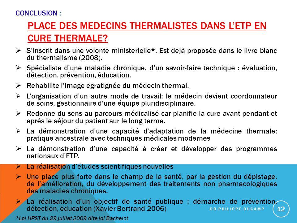 place des medecins thermalistes dans l'ETP en cure thermale