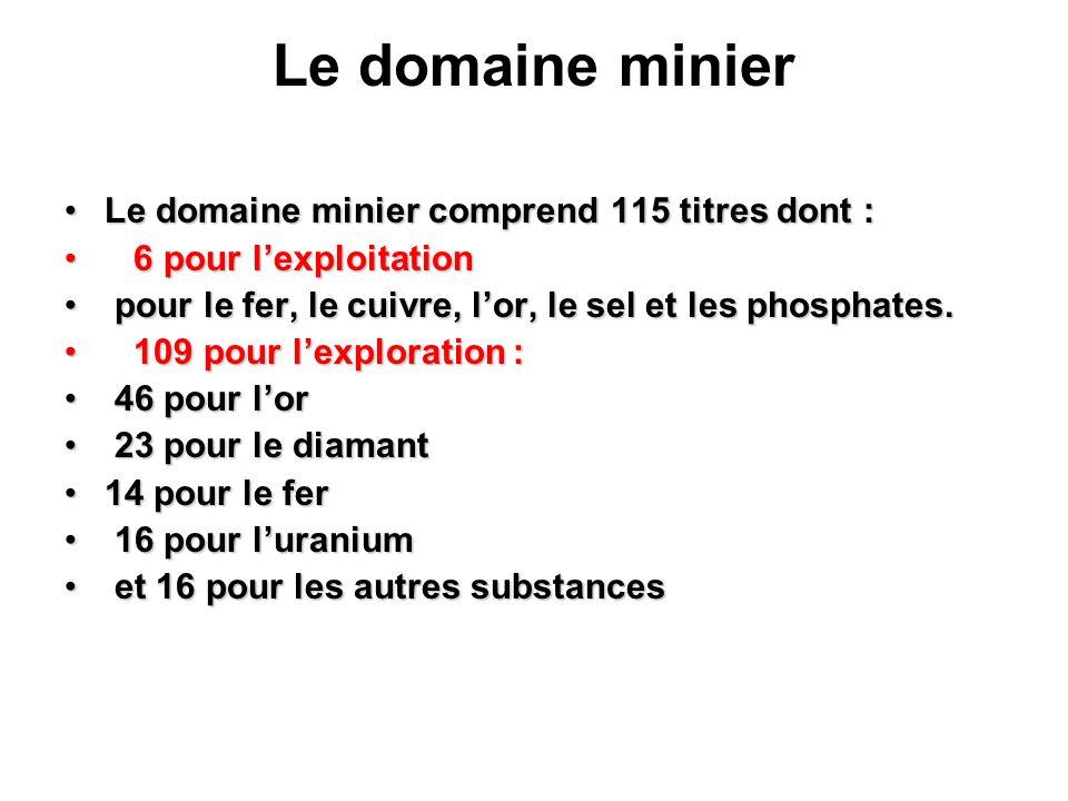 Le domaine minier Le domaine minier comprend 115 titres dont :