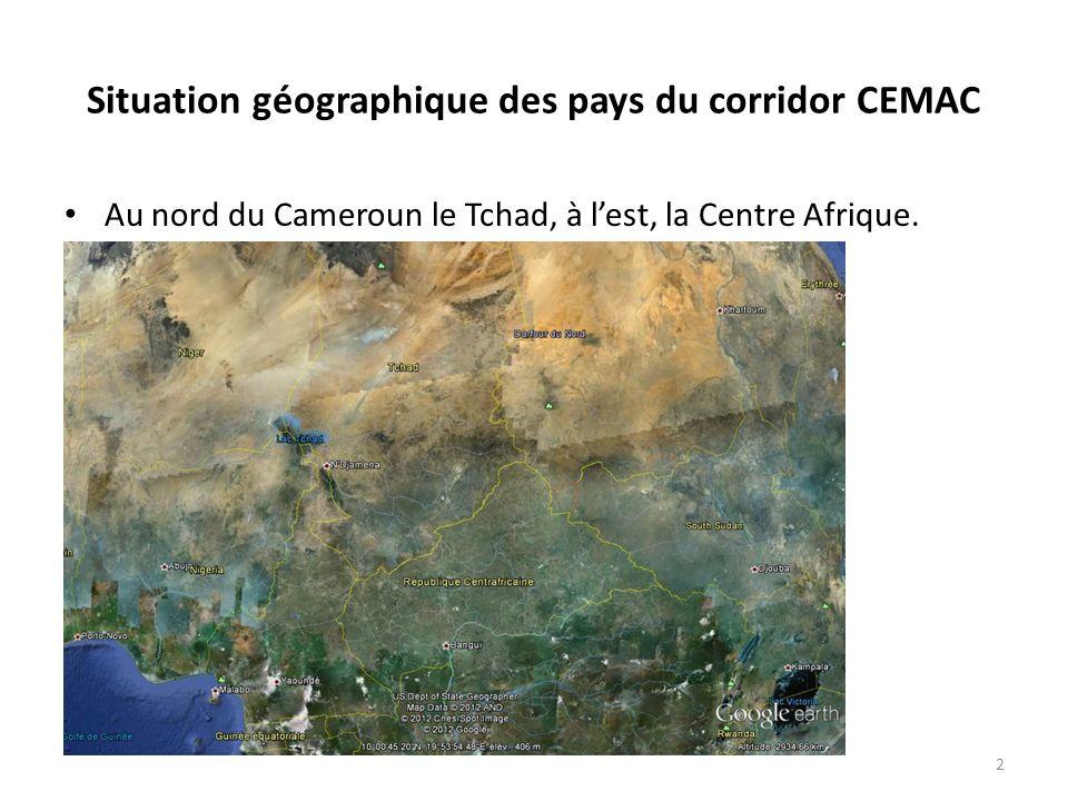 Situation géographique des pays du corridor CEMAC