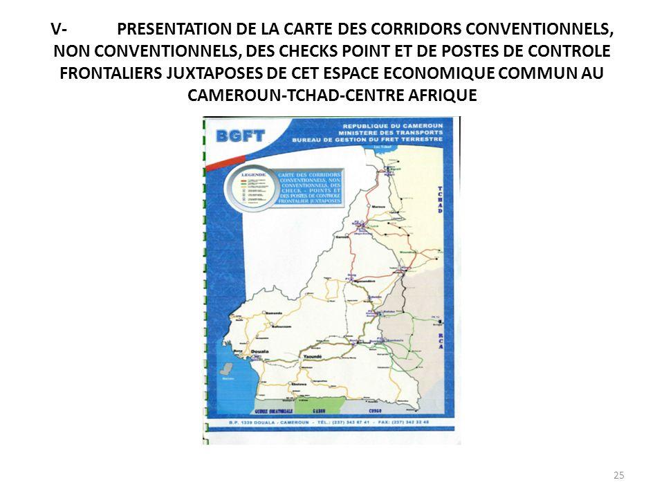 V- PRESENTATION DE LA CARTE DES CORRIDORS CONVENTIONNELS, NON CONVENTIONNELS, DES CHECKS POINT ET DE POSTES DE CONTROLE FRONTALIERS JUXTAPOSES DE CET ESPACE ECONOMIQUE COMMUN AU CAMEROUN-TCHAD-CENTRE AFRIQUE