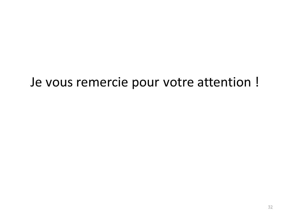Je vous remercie pour votre attention !