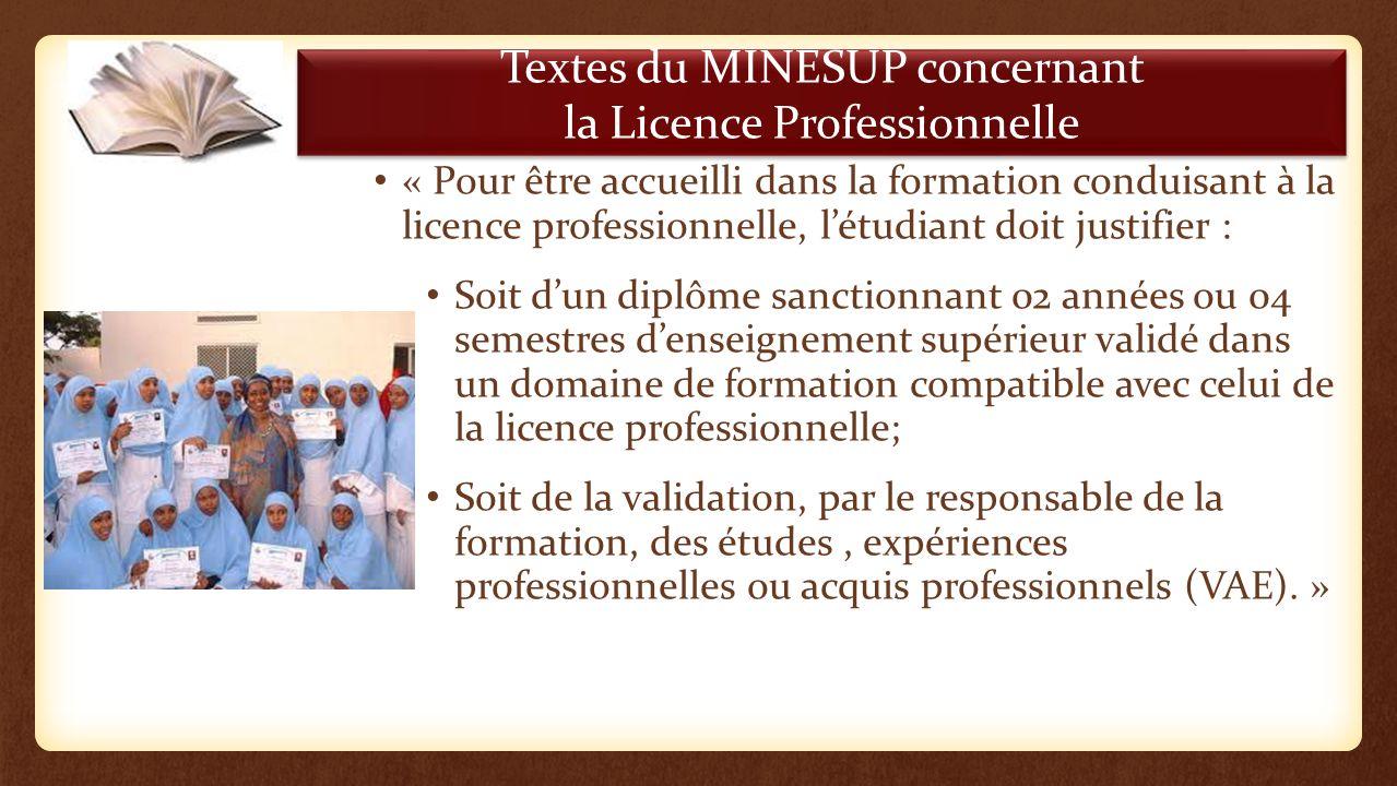 Textes du MINESUP concernant la Licence Professionnelle