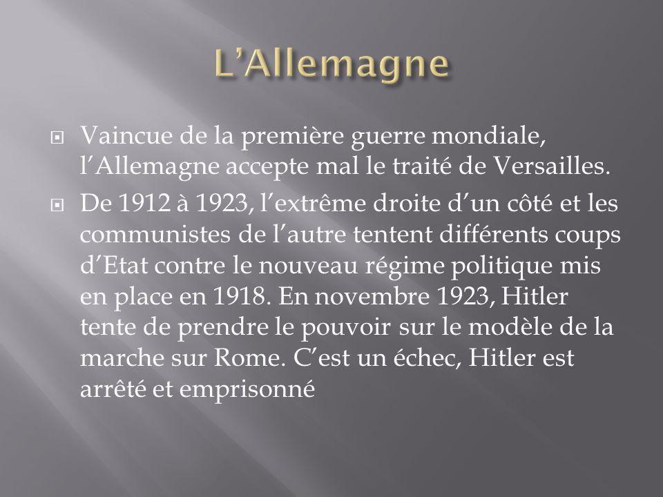L'Allemagne Vaincue de la première guerre mondiale, l'Allemagne accepte mal le traité de Versailles.