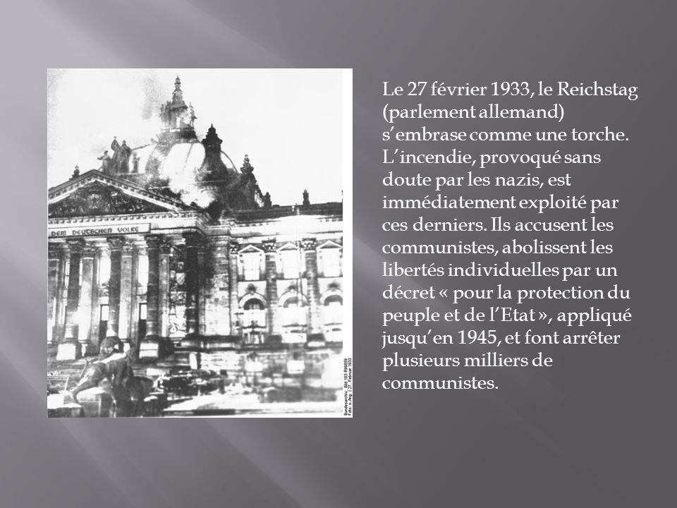 Le 27 février 1933, le Reichstag (parlement allemand) s'embrase comme une torche.