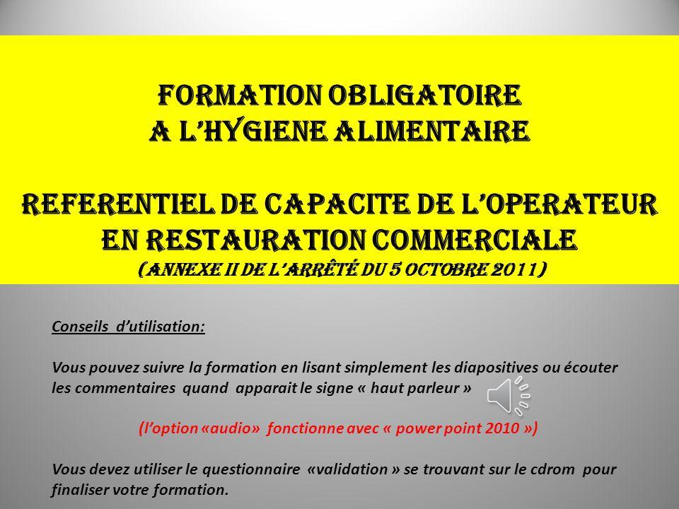 FORMATION OBLIGATOIRE A L'HYGIENE ALIMENTAIRE