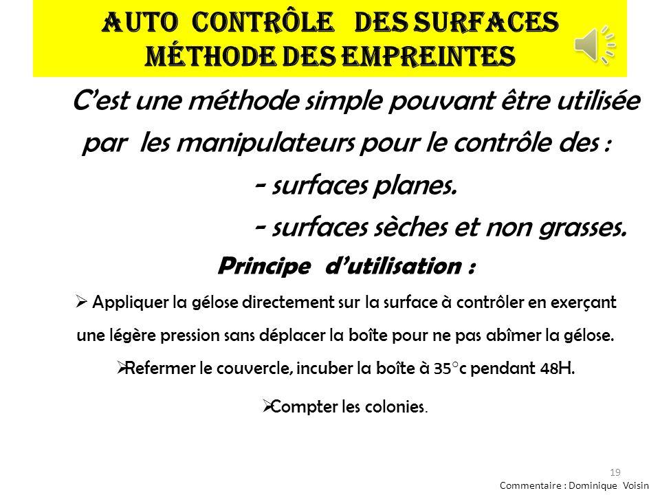 Auto contrôle des surfaces Méthode des empreintes