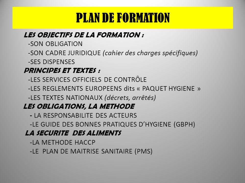 PLAN DE FORMATION LES OBJECTIFS DE LA FORMATION : -SON OBLIGATION