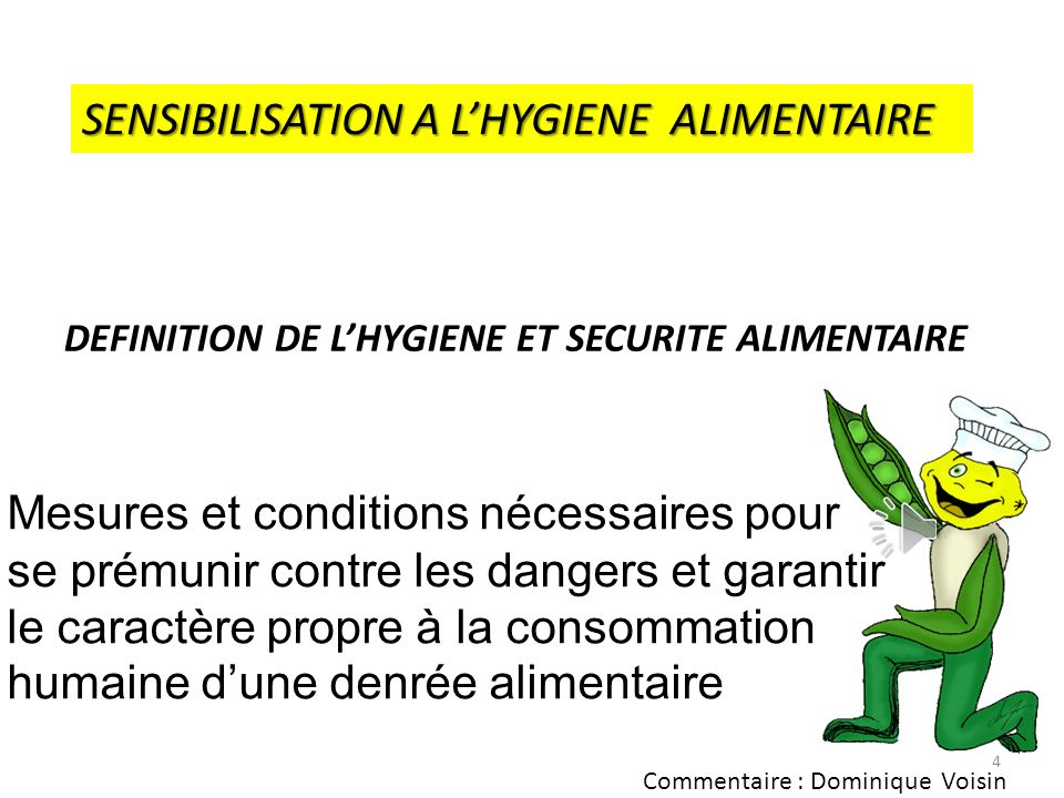 SENSIBILISATION A L'HYGIENE ALIMENTAIRE