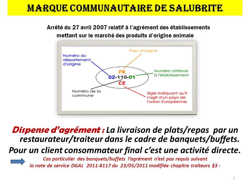 MARQUE COMMUNAUTAIRE DE SALUBRITE