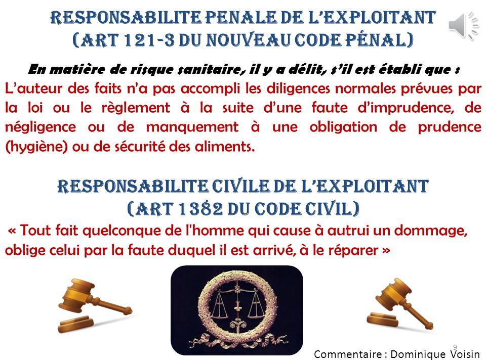 RESPONSABILITE PENALE DE L'EXPLOITANT