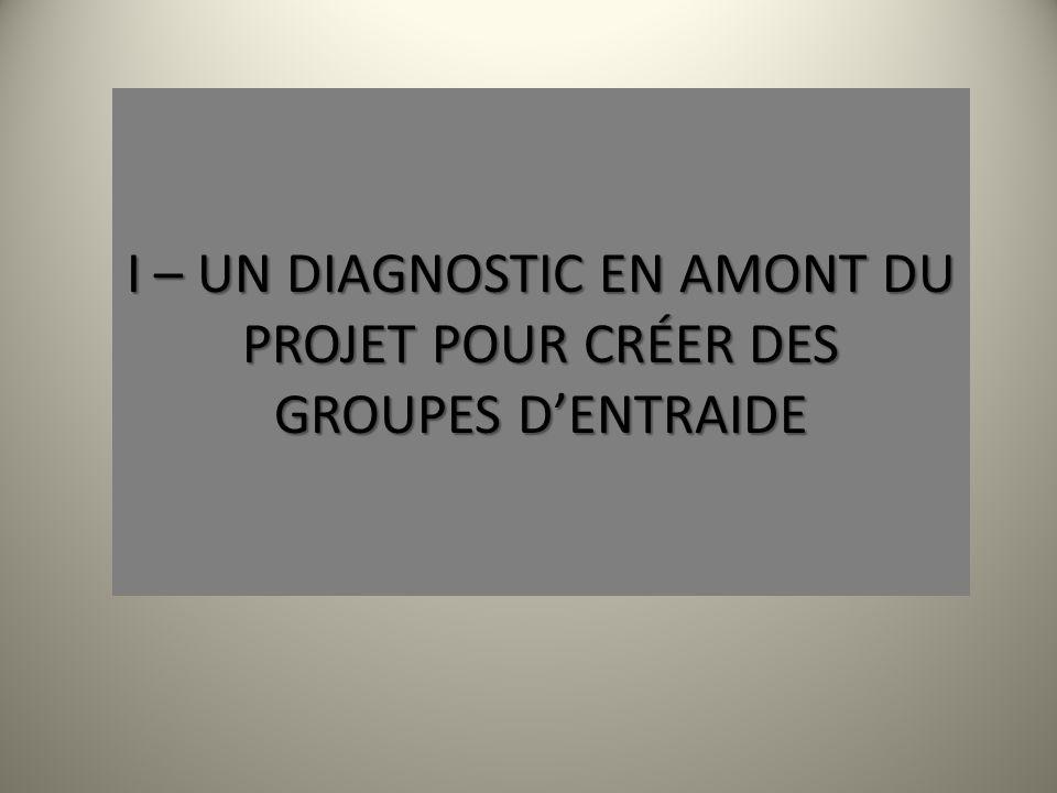 I – UN DIAGNOSTIC EN AMONT DU PROJET POUR CRÉER DES GROUPES D'ENTRAIDE