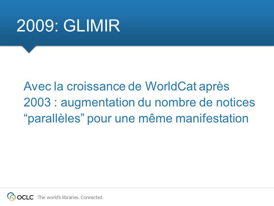 2009: GLIMIR Avec la croissance de WorldCat après 2003 : augmentation du nombre de notices parallèles pour une même manifestation.