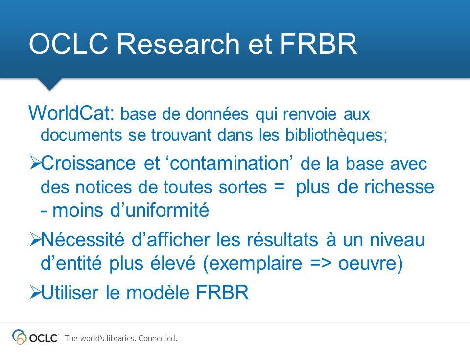 OCLC Research et FRBR WorldCat: base de données qui renvoie aux documents se trouvant dans les bibliothèques;