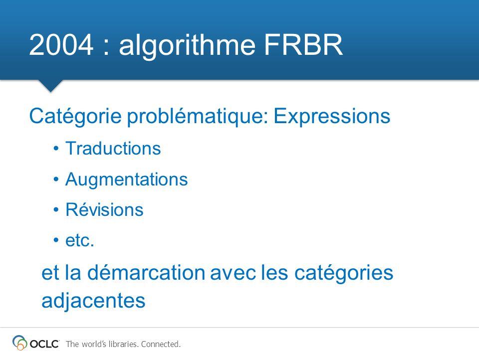 2004 : algorithme FRBR Catégorie problématique: Expressions