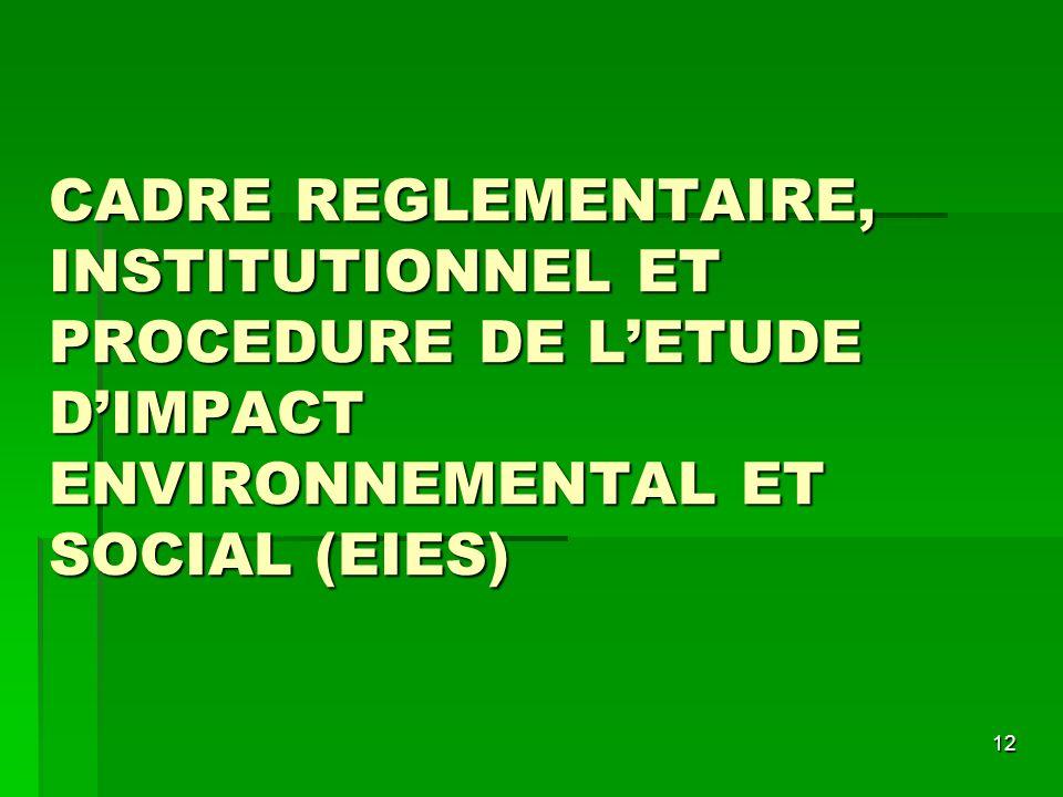 CADRE REGLEMENTAIRE, INSTITUTIONNEL ET PROCEDURE DE L'ETUDE D'IMPACT ENVIRONNEMENTAL ET SOCIAL (EIES)