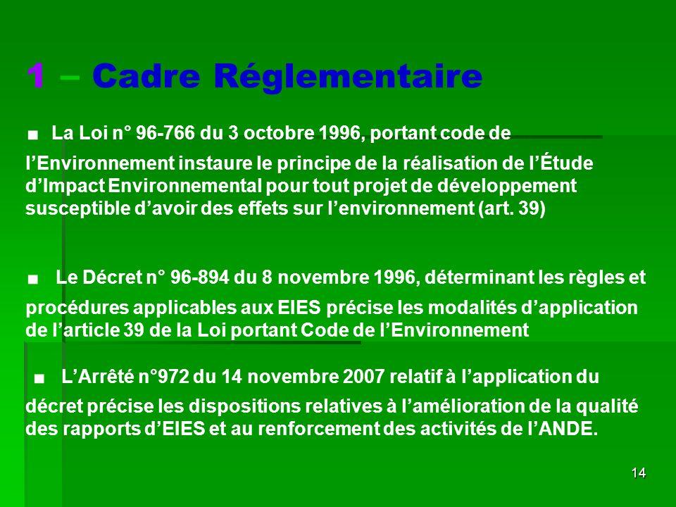 1 – Cadre Réglementaire .