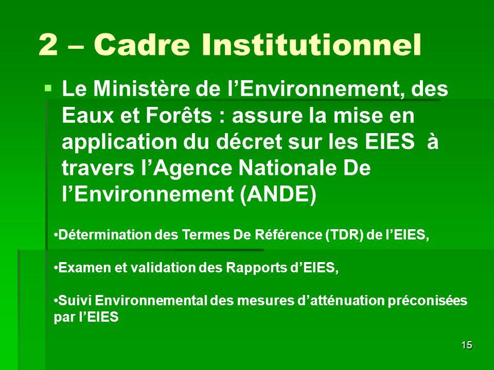 2 – Cadre Institutionnel