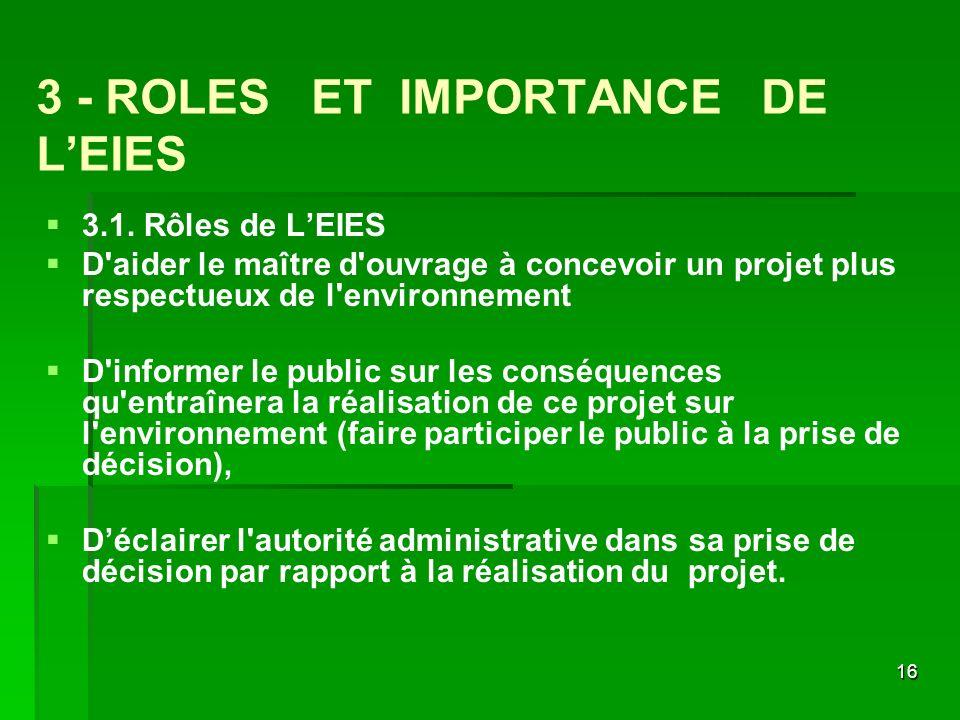 3 - ROLES ET IMPORTANCE DE L'EIES