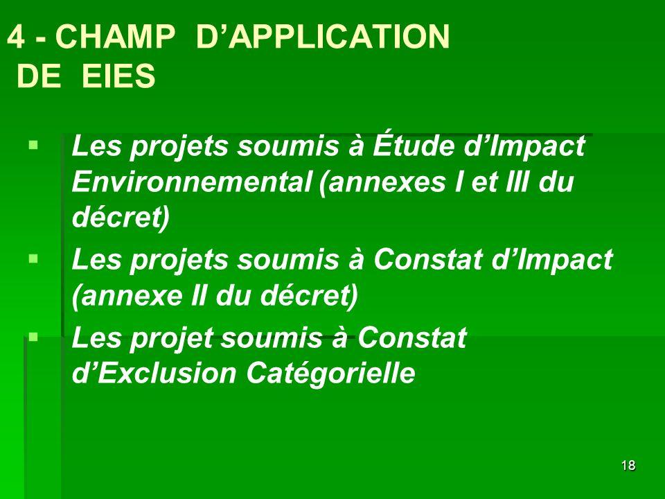 4 - CHAMP D'APPLICATION DE EIES