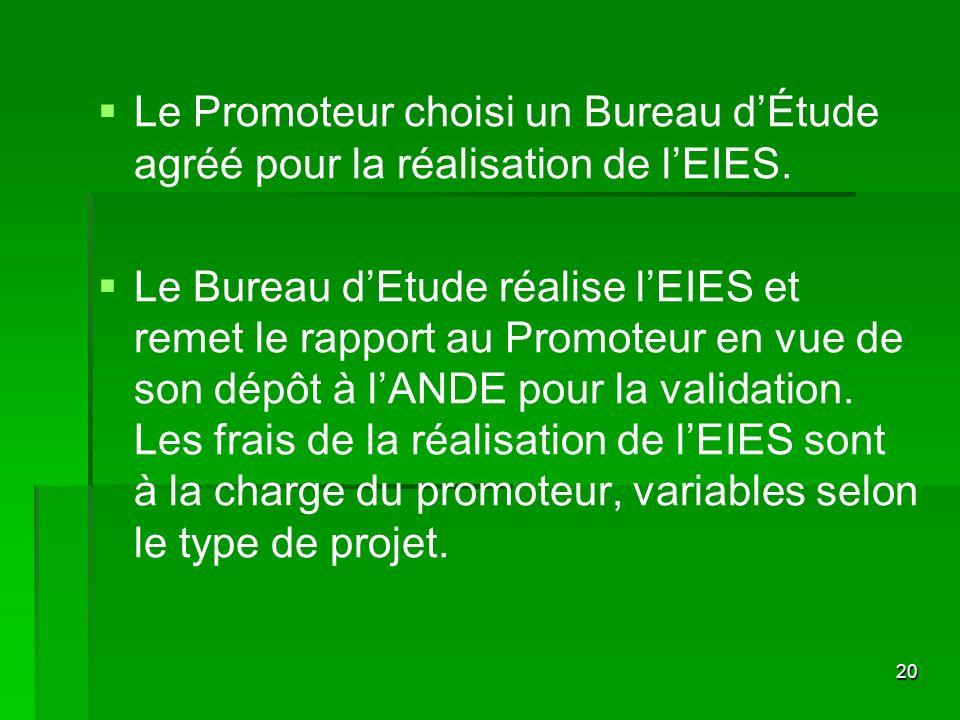 Le Promoteur choisi un Bureau d'Étude agréé pour la réalisation de l'EIES.